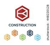 letters k set hexagon vector... | Shutterstock .eps vector #448220128