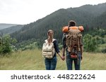 a couple hikers hiking with... | Shutterstock . vector #448222624