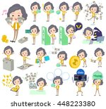 set of various poses of yellow... | Shutterstock .eps vector #448223380