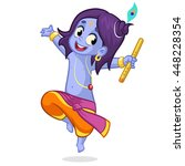 little cartoon krishna dancing... | Shutterstock .eps vector #448228354