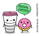 funny cute coffee cup and donut | Shutterstock .eps vector #448236370