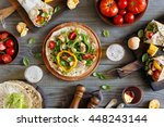 tortilla wraps with grilled... | Shutterstock . vector #448243144