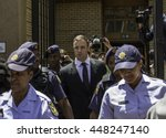 Small photo of Oscar Pistorius leaving the high court in Pretoria, South Africa on the 17th of October 2014 He was accused of killing his girlfriend Reeva Steenkamp on the 14th of February, 2013