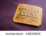 Ticket stub for special event ...
