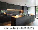 modern kitchen with black... | Shutterstock . vector #448253599