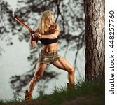 fitness woman lumberjack...   Shutterstock . vector #448257760