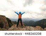 successful woman backpacker... | Shutterstock . vector #448260208