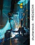 welding robots movement in a... | Shutterstock . vector #448260244