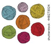 colorful yarn balls. wool... | Shutterstock .eps vector #448273024