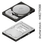 opened hard disk drive  ... | Shutterstock .eps vector #448275088