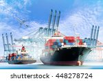 container cargo ship with ports ... | Shutterstock . vector #448278724
