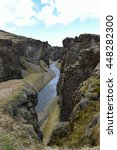 Small photo of Fjadrargljufur canyon that is about 100 metres deep and 2 kilometres long in southern Iceland