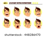 avatars with expression. man... | Shutterstock .eps vector #448286470