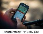 mountain biker using a...   Shutterstock . vector #448287130