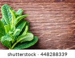 leaves of mint on a wooden... | Shutterstock . vector #448288339