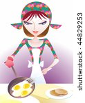 young woman cooked scrambled... | Shutterstock .eps vector #44829253