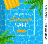 summer sale poster with sea or... | Shutterstock .eps vector #448297879