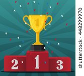gold trophy cup on prize podium ... | Shutterstock .eps vector #448299970