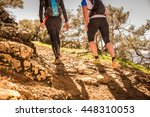 two man doing trail in the... | Shutterstock . vector #448310053