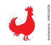 chinese zodiac red rooster for... | Shutterstock . vector #448316026