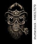 steampunk skull  in hat and... | Shutterstock . vector #448317070