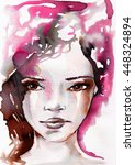 watercolor  abstract portrait... | Shutterstock . vector #448324894