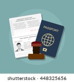 Stock vector passport with biometric data identification document and stamp flat vector illustration 448325656