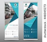 blue roll up business brochure... | Shutterstock .eps vector #448345273