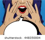 woman with speech bubble in... | Shutterstock .eps vector #448350004