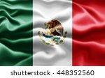 mexico flag of silk  3d... | Shutterstock . vector #448352560