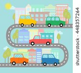 road with cars and houses with... | Shutterstock .eps vector #448357264