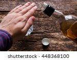 man refuses to drink alcohol | Shutterstock . vector #448368100
