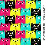 cute cats colorful seamless... | Shutterstock .eps vector #448368244