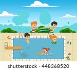 boys and girls having fun ... | Shutterstock .eps vector #448368520