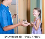 hospitable child receiving... | Shutterstock . vector #448377898