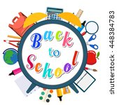 colorful message back to school ... | Shutterstock .eps vector #448384783