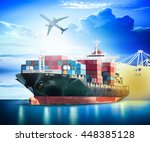 container cargo ship with ports ... | Shutterstock . vector #448385128