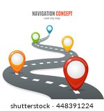 navigation concept. road with... | Shutterstock .eps vector #448391224