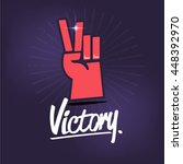 victory hand sign with... | Shutterstock .eps vector #448392970