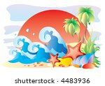 the sea and palm trees | Shutterstock .eps vector #4483936