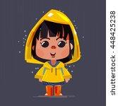 cute girl wearing yellow... | Shutterstock .eps vector #448425238