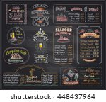 chalk menu list blackboard... | Shutterstock .eps vector #448437964