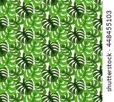 monstera tropic plant leaves... | Shutterstock .eps vector #448455103