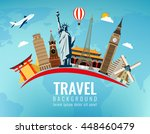 travel composition with famous... | Shutterstock .eps vector #448460479