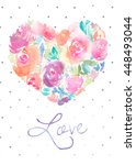 cute watercolor heart card.... | Shutterstock . vector #448493044