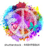 peace hippie symbol over... | Shutterstock .eps vector #448498864