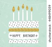 cute happy birthday card with... | Shutterstock .eps vector #448499059