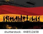 silhouette of refugees walking... | Shutterstock .eps vector #448512658