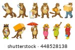 set of funny beavers with... | Shutterstock .eps vector #448528138