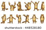 set of cute full length beavers ... | Shutterstock .eps vector #448528180